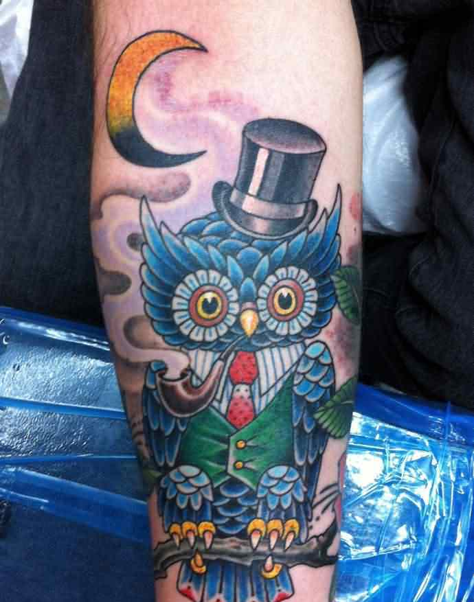 Moon And Mr. Owl Tattoos