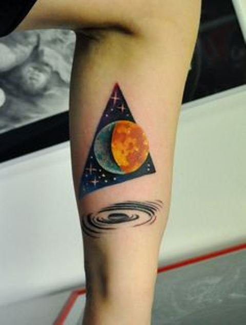 Moon And Stary Triangle Tattoos On Inner Arm