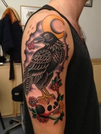 Moon Crow On Skull Tattoos On Half Sleeve
