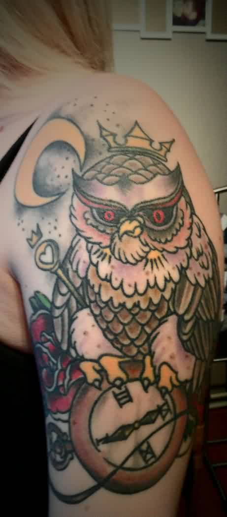 Moon Crowned Owl And Clock Tattoos On Upper Arm