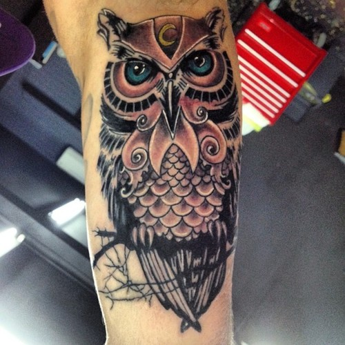 Moon Forehead Owl Tattoo