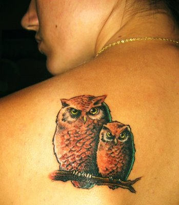 Mother And Baby Owls Sitting On Branch Tattoo