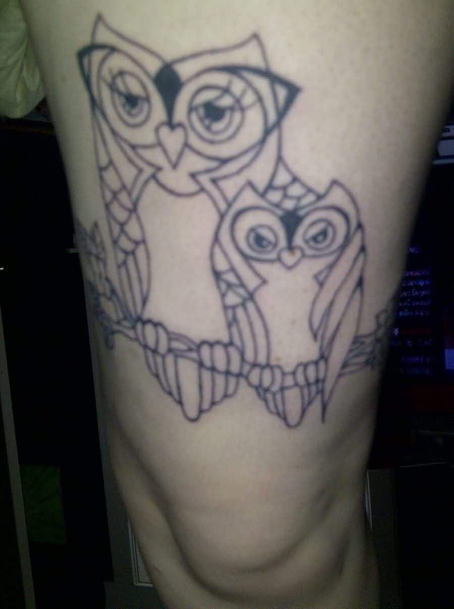 Mother And Child Owl Tattoos On Thigh