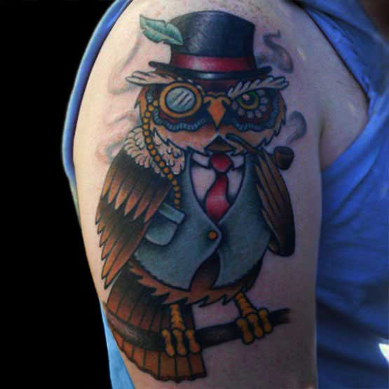 Mr. Owl Tattoo On Arm
