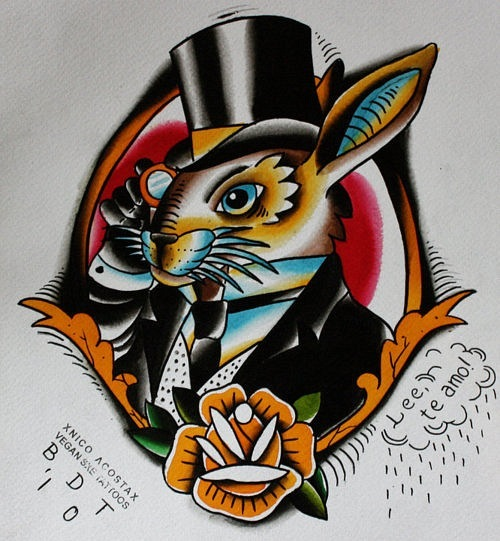 Mr. Rabbit Tattoo Flash