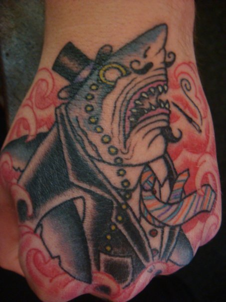 Mr. Shark Tattoo On Hand