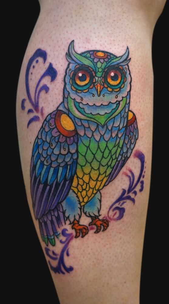 Mulit Color Owl And Swirls Tattoo
