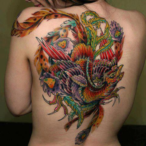 Multi Color 3D Phoenix Tattoo On Back