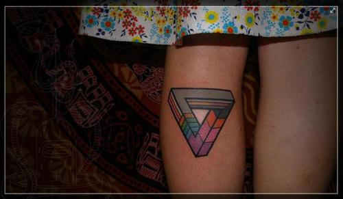 Multi Color Triangle Tattoo On Leg For Girls