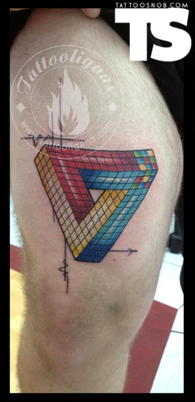 Multi Color Triangle Tattoo On Thigh