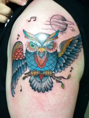 Music Notes Moon And Owl Tattoos On Shoulder