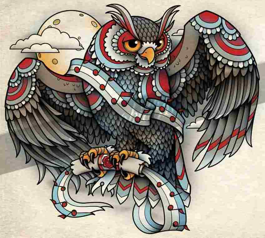 Music Owl With Open Wings Tattoo Design
