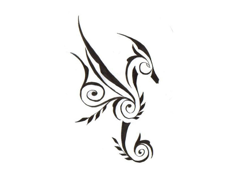 Music Style Seahorse Tattoo Sketch