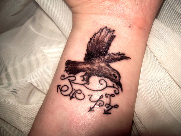 My Soul Crow Tattoo On Inner Wrist