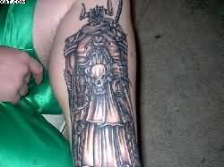Mythical Warrior Tattoo On Leg