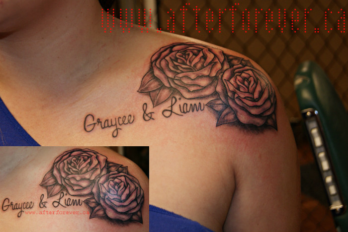 Names And Rose Tattoos On Collarbone For Girls