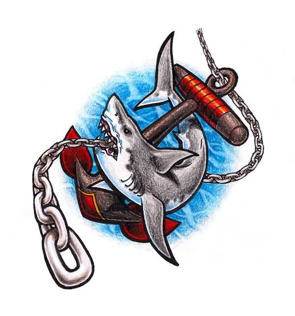 Navy Shark Chain Anchor Tattoo Design