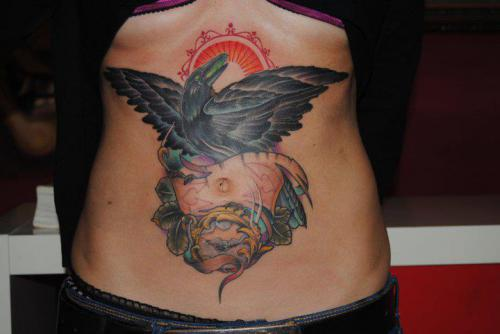 Neo Traditional Style Crow Tatto On Stomach