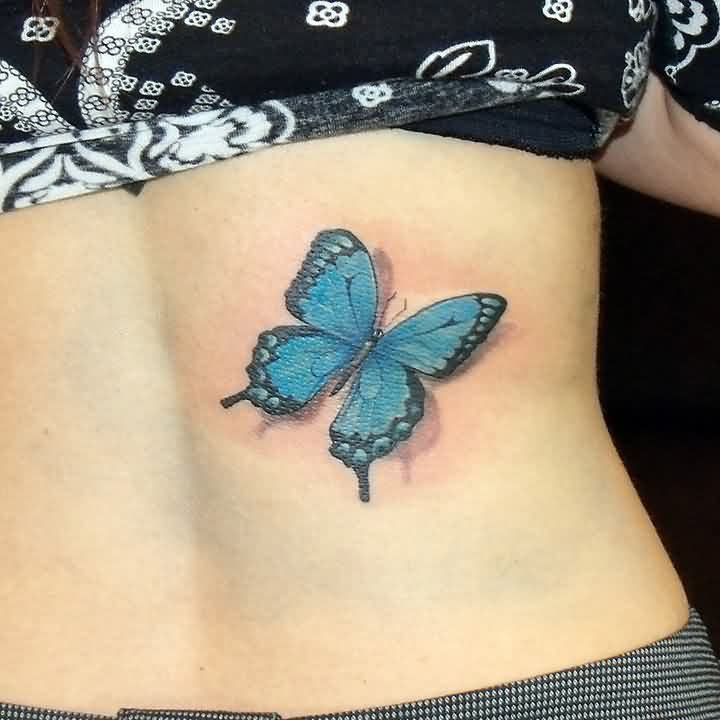New 3D Blue Butterfly Tattoo