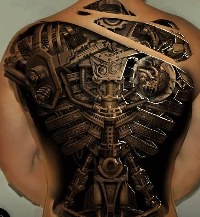New 3D Mechanic Tattoos On Entire Back