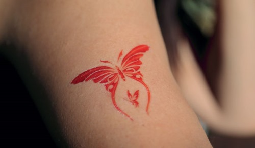 New 3D Red Butterfly Tattoo