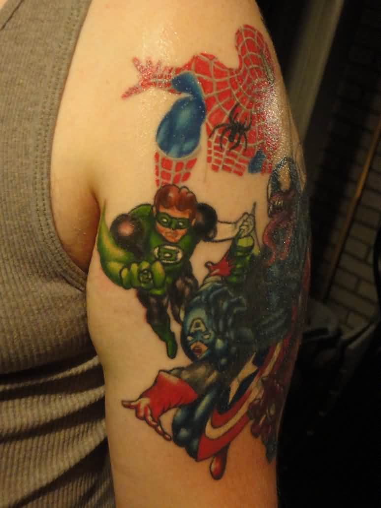 New 3D Supeheroes Tattoos On Arm For Boys