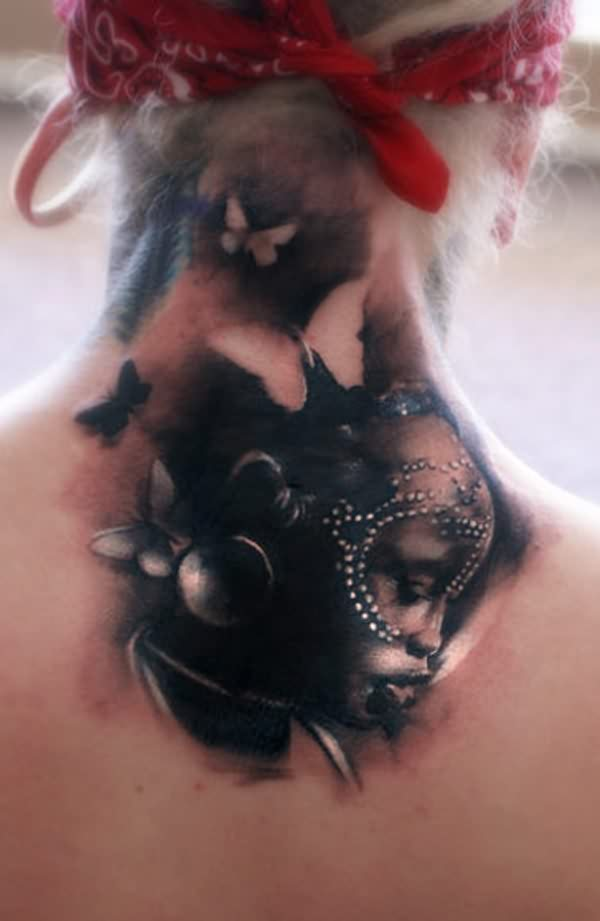 New Amazing 3D Tattoos On Back Neck
