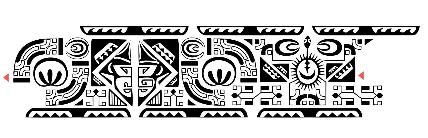 New Black Ink Polynesian Ankle Band Tattoo Design