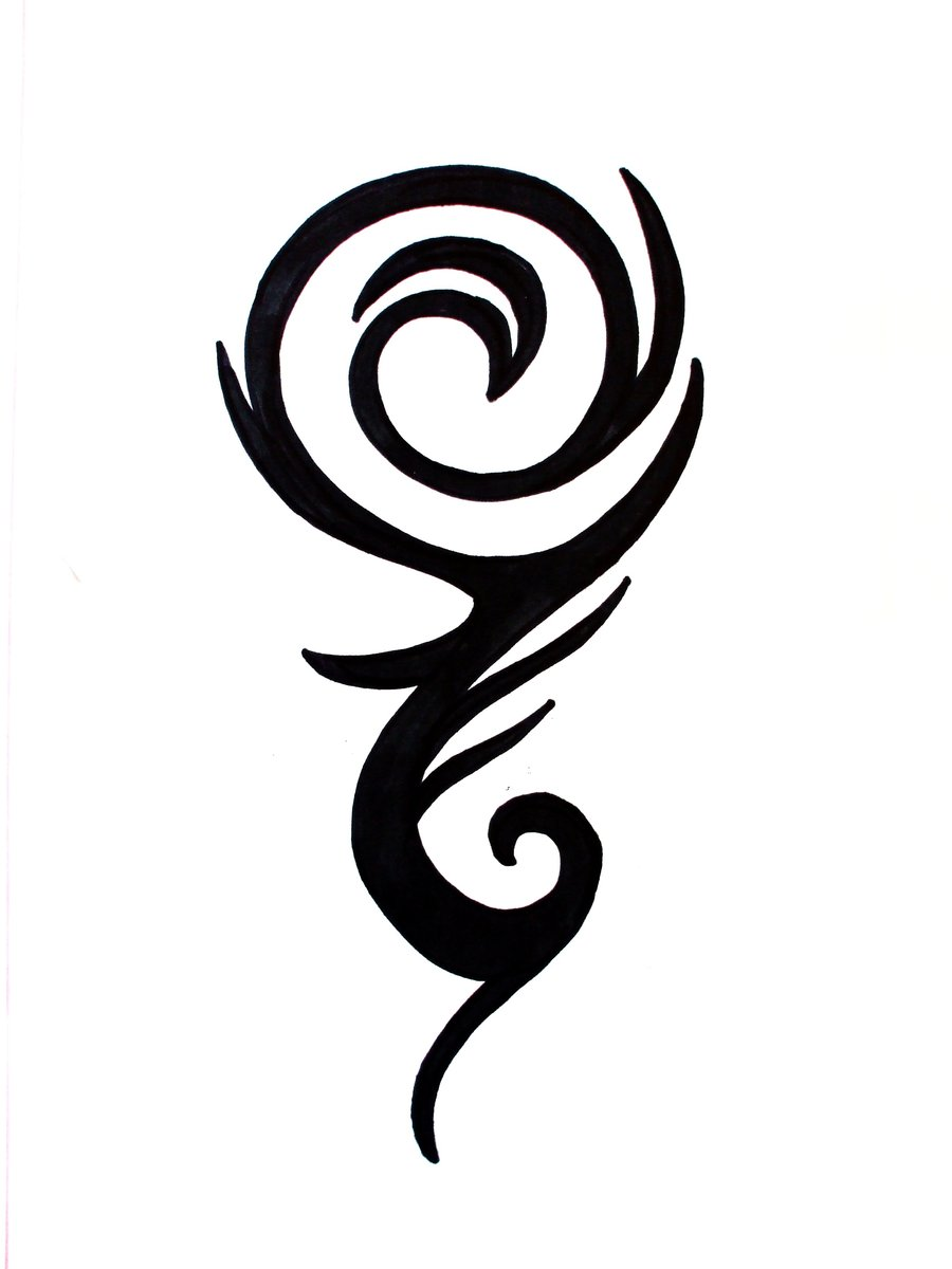 New Black Ink Tribal Wave Rose Tattoo Design