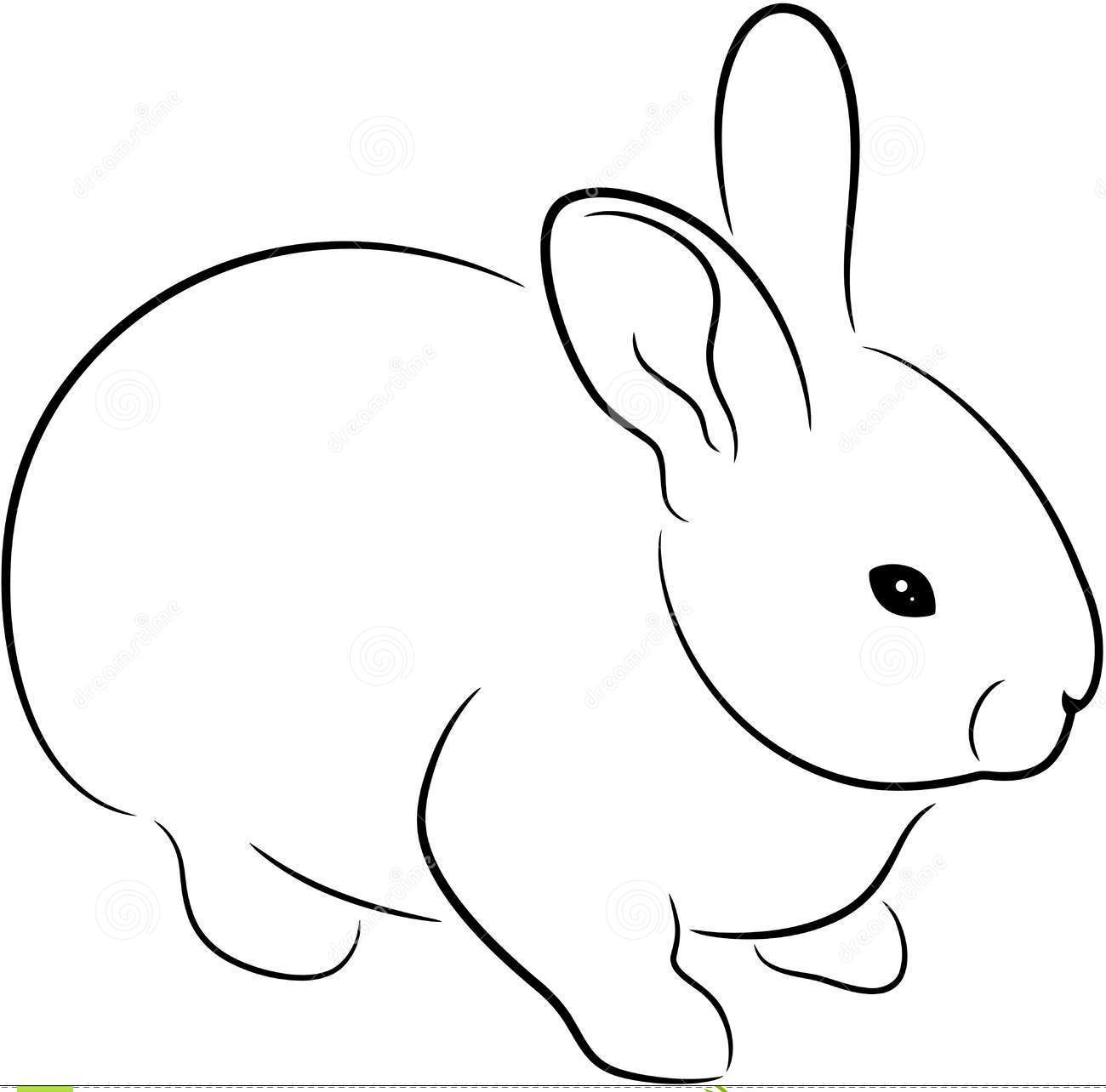 New Black Outline Rabbit Tattoo Design