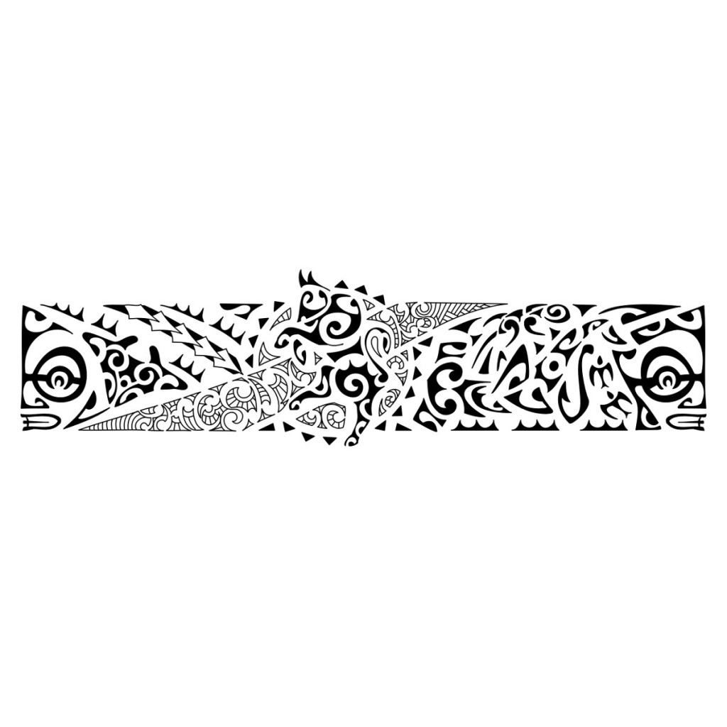 New Black Polynesian Armband Tattoo Design