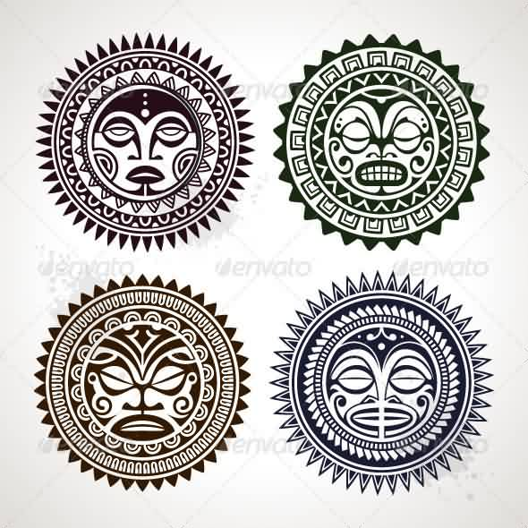 New Black Polynesian Circle Patterns Tattoo Designs