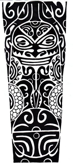 New Black Polynesian Leg Piece Tattoo Design