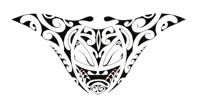 New Black Polynesian Skull Tattoo Stencil