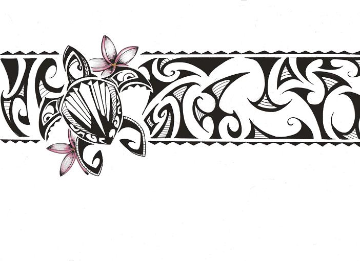 New Black Polynesian Turtle Band Tattoo Design