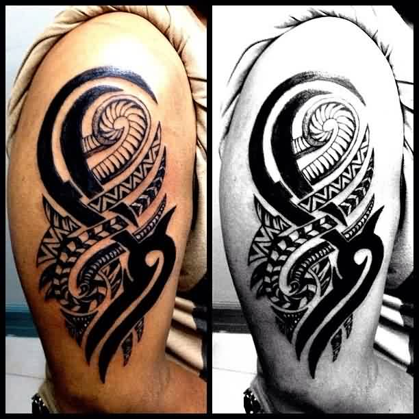 New Black Tribal And Polynesian Tattoo On Biceps