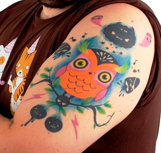 New Cartoon Owl Tattoo On Biceps