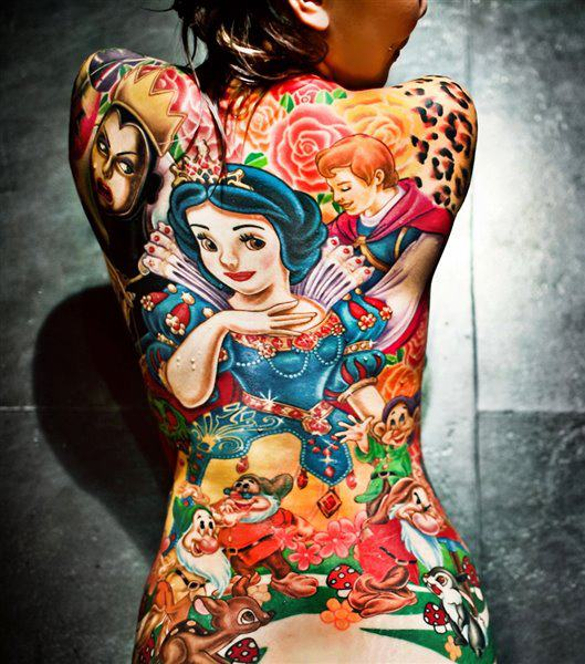 New Color 3D Cartoon Tattoos On Whole Back