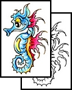 New Colorful Seahorse Tattoo Design