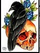 New Crow Skull And Flower Tattoo Designs