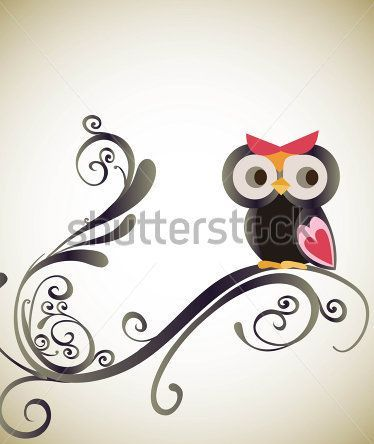 New Cute Cartoon Owl Tattoo Print