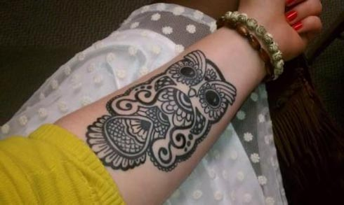 New Designer Owl Tattoo On Forearm