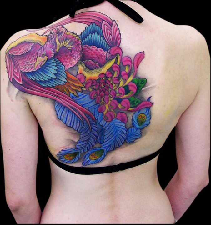 New Gorgeous Color 3D Phoenix Tattoo On Back