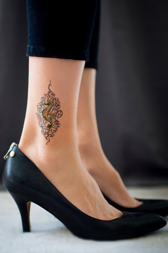 New Green Seahorse Ankle Tattoo Fashion For Girls
