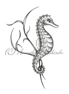 New Grey Seahorse Tattoo Design