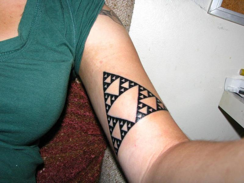 New Ink Sierpinski Triangle Tattoo On Muscles