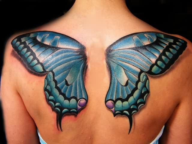 New Large 3D Butterfly Wings Tattoo On Upperback