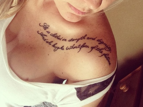 New Lettering Tattoos On Collarbone To Shoulder