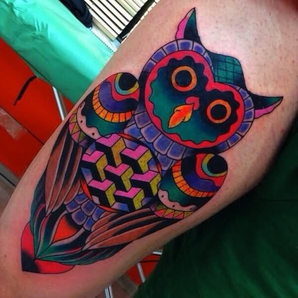 New Multi Color Owl Tattoo