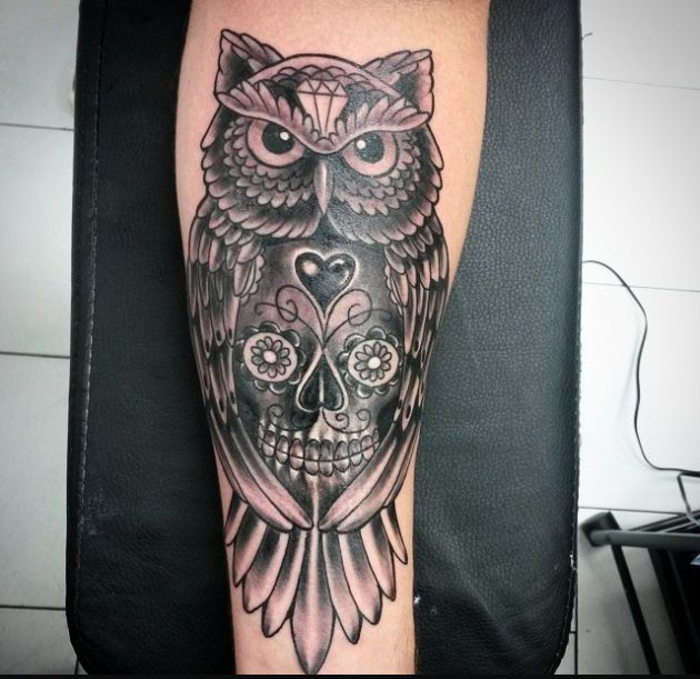New Owl Candy Skull Tattoo
